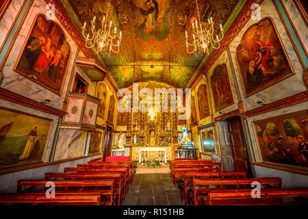 Kirche Igreja Sao Sebastiao, Camara de Lobos, Madeira, Portugal - Stock Photo