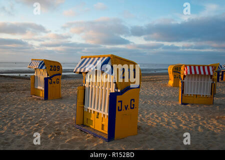 Beach chairs, Duhnen, Cuxhaven, Lower Saxony, Germany - Stock Photo