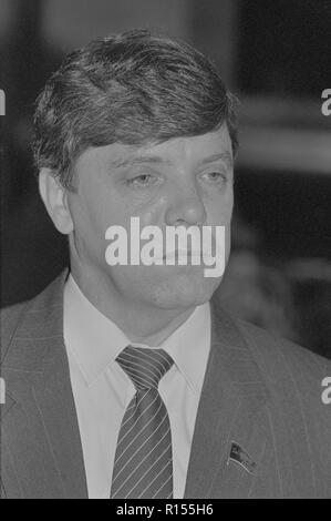 Moscow, USSR - December 21, 1990: Portrait of People's Deputy of the USSR Boris Vsevolodovich Gromov at 4th Congress of People's Deputies of the USSR - Stock Photo