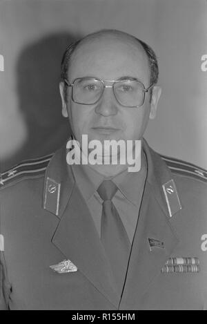 Moscow, USSR - December 21, 1990: Portrait of People's Deputy of the USSR colonel Nikolai Semyonovich Petrushenko at 4th Congress of People's Deputies of the USSR - Stock Photo