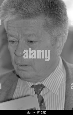 Moscow, USSR - December 21, 1990: Portrait of People's Deputy of the USSR Svyatoslav Nikolayevich Fyodorov at 4th Congress of People's Deputies of the USSR. He is a famous soviet and russian ophthalmologist. - Stock Photo