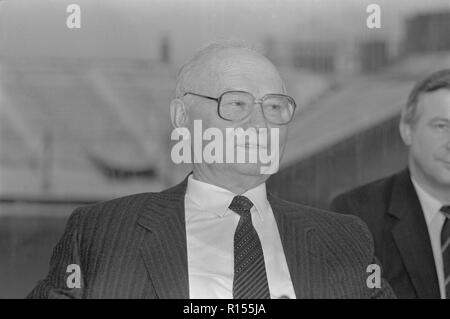 Moscow, USSR - December 26, 1990: Chairman of State Security Committee (KGB) Vladimir Alexandrovich Kryuchkov gives press-conference at 4th Congress of People's Deputies of the USSR - Stock Photo