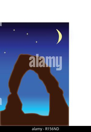 Evening sky, stars and moon over Delicate Arch, artistic, vector rendering for moody effect - Stock Photo