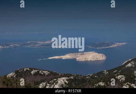 The northern Dalmatian coast from the Velebit Mountains, looking at the island of Rab; Croatia. - Stock Photo