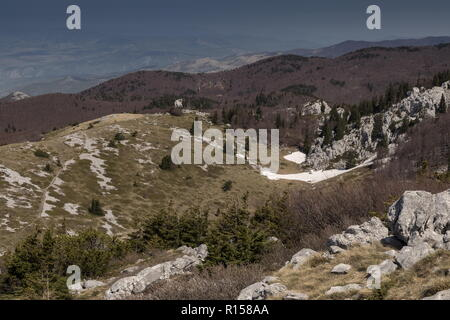 The limestone Karst scenery of the northern Velebit Mountains around Zavižan-Balinovac-Velika kosa, in the Northern Velebit National Park. Croatia. - Stock Photo