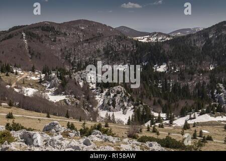 The limestone Karst scenery of the northern Velebit Mountains around Zavižan-Balinovac-Velika kosa, in the Northern Velebit National Park. Croatia. - Stock Photo