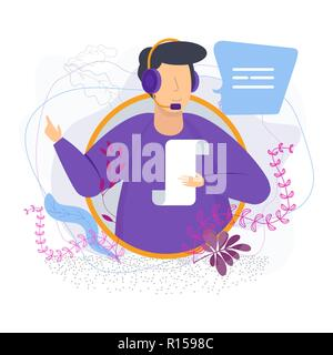 man with headset sends a voice message - Stock Photo