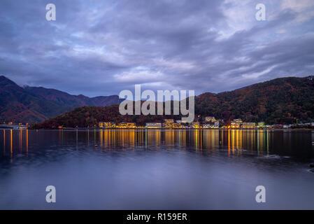 night scene of Lake Kawaguchi in Yamanashi, japan