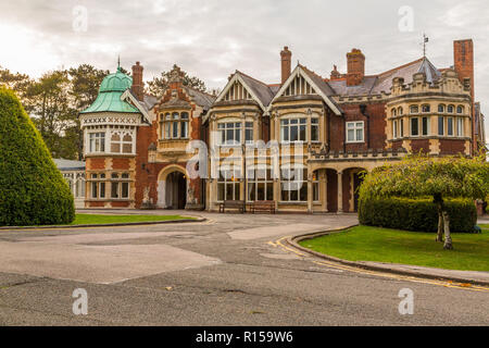Bletchley Park is a nineteenth-century mansion and was the home of Government Code and Cypher School during world war 11, Bletchley, Bucks ,England UK - Stock Photo