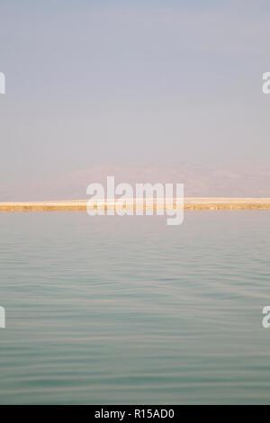 View Over Dead Sea in Israel towards Jordan - Stock Photo