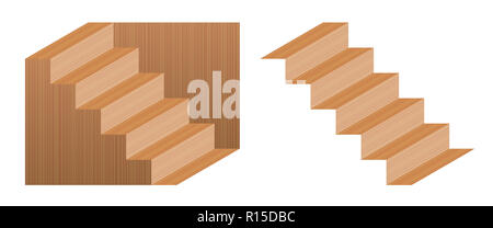 Optical illusion staircase called Schroeder stairs. Wooden object which may perceived as downwards leading staircase, from left to right, or turned up - Stock Photo