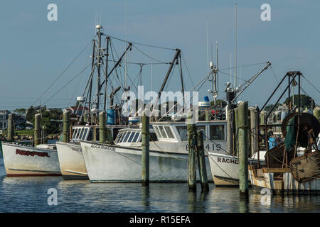 Commercial Fishing Boats, Point Judith Marina, PT Judith, RI. close to the ferry service that transports people back and forth to Block Island, RI. - Stock Photo