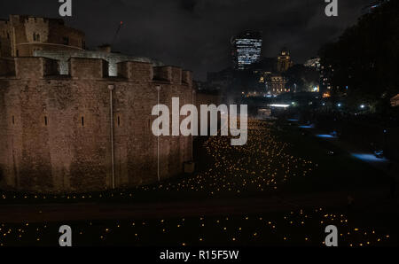 Beyond the Deepening Shadow: the moving story behind the Tower of London's Armistice torches - Stock Photo