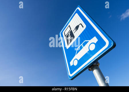 Dutch road sign: electric vehicle charging station - Stock Photo
