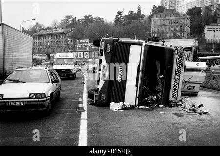 Archives 80ies. Road accident, Lyon, France - Stock Photo