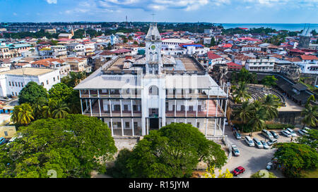 Aerial. Stone town, Zanzibar, Tanzania. - Stock Photo