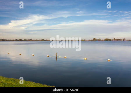 View on the Loosdrechtse plassen, the Netherlands. An area with several connected beautiful lakes,  Ideal for boating, swimming, aquatics, relaxing - Stock Photo