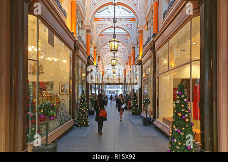London, United Kingdom - November 21, 2013: Christmas Decoration at The Royal Arcade Shopping Centre at Old Bond Street in London., UK. - Stock Photo