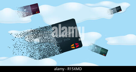 Virtual credit cards are seen pixelated and flying into clouds and blue sky in this illustration about digital credit cards or cloud cards. - Stock Photo