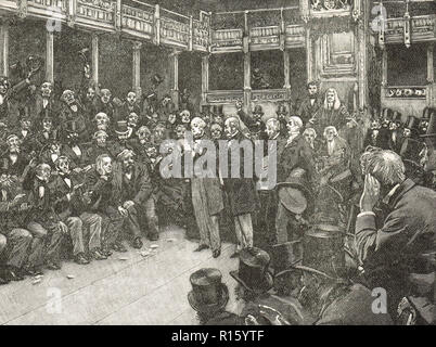 A narrow vote in the House of Commons, reform bill of 1866 - Stock Photo