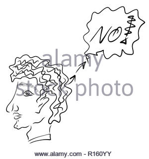 A man gives the answer NO, sketch, black outline - Stock Photo