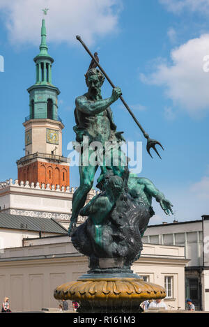Neptune Fountain, view of the statue of Neptune on the Fontanna Neptuno in the south west corner of the Market Square in Poznan Old Town, Poland. - Stock Photo