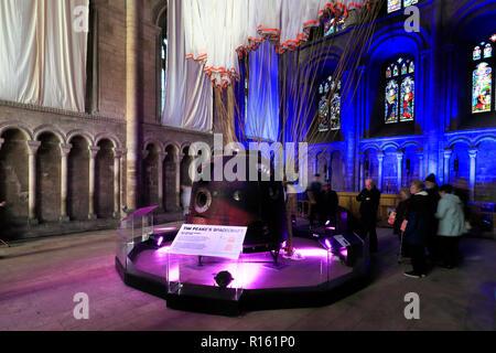 Tim Peake's spacecraft in Peterborough City Cathedral, Cambridgeshire; England; Britain; UK - Stock Photo