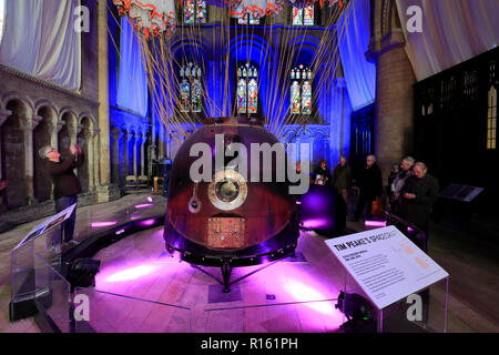 Tim Peake's spacecraft in Peterborough City Cathedral, Cambridgeshire; England; Britain; UK - Stock Photo