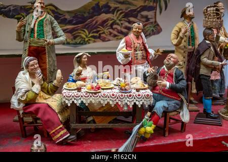restaurant for lunch in Christmas nativity scene, detail of a Neapolitan Presepe - Stock Photo