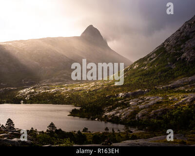 Sunrise over Mt Børtinden, northern Norway. - Stock Photo