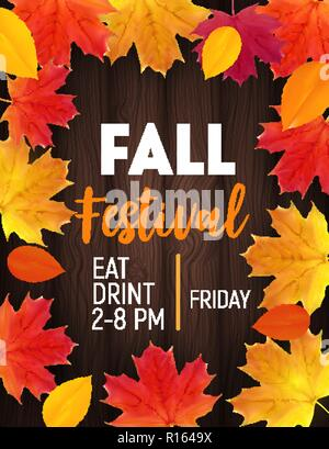 Fall Festival Background with Shiny Autumn Natural Leaves. Vector Illustration Stock Photo