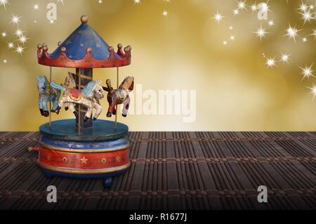 music box christmas carousel horses vintege nostalgia - Stock Photo