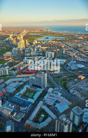 Overview over City Centre, Melbourne, Victoria, Australia - Stock Photo