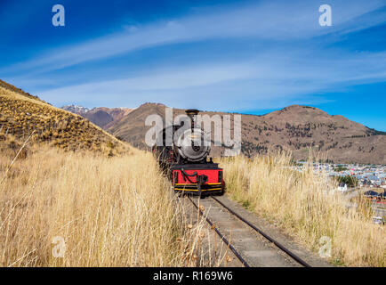 Old Patagonian Express La Trochita, steam train, Chubut Province, Patagonia, Argentina - Stock Photo