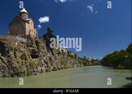 the Cathedral of the Holy Trinity - the main cathedral of the Georgian Orthodox Church, which is located in Tbilisi, on the hill of St. Ilya left bank - Stock Photo