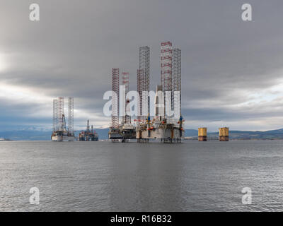 This is a scene of the Oil Rigs berthed within Cromarty Firth on Wednesday 31 October 2018. Photographed - FREELANCE - by JASPERIMAGE ©. - Stock Photo