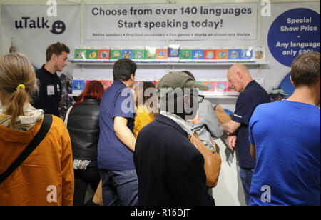 London UK 09 November 2018 Celebrating their 30th year the Language show returns to the London Olympia ,opening up the exiting world of discovering and learning languages ,that makes us what we are ,our identity ,culture ,heritage ,way of life and our idiosyncratic self's,to share and welcome those who embrace and want to learn@Paul Quezada-Neiman/Alamy Live News - Stock Photo