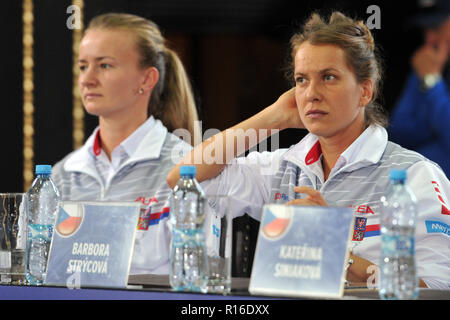 Prague, Czech Republic. 9th Nov, 2018. Barbora Strycova (R) and Barbora Krecikova of Czech team attend the draw ceremony of the Tennis Fed Cup World Group first round tie between the Czech Republic and the United States of America in Prague in the Czech Republic. The Czech Republic will face United States in the Tennis Fed Cup World Group on 10 and 11 November 2018. Credit: Slavek Ruta/ZUMA Wire/Alamy Live News - Stock Photo