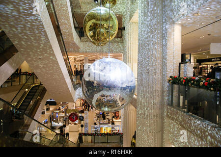 London, UK. 9th Nov, 2018. Interior view of Selfridges.Selfridges on Oxford Street, London is decorated with large glitter balls and Christmas lights for the festive season. Credit: Dinendra Haria/SOPA Images/ZUMA Wire/Alamy Live News - Stock Photo