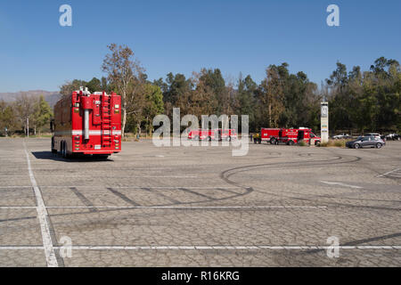 Los Angeles, California, USA. 9th Nov, 2018. Staging for the Griffith Park brush fire. Credit: Chester Brown/Alamy Live News - Stock Photo