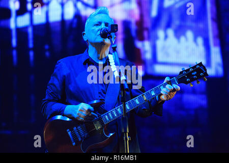 Alexandra Palace, London, United Kingdom, 9th November 2018, New Order on their only UK tour date of 2018, Bernard Sumner, Credit: Richard Soans/Alamy Live News - Stock Photo
