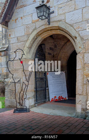 Penshurst, UK. 9th November 2018. There but not there, an installation of 50 silhouettes of fallen soldiers from the first world war at St John the Baptist, Penshurst, Kent. Designed by Martin Barraud and an initiative which originated in THIS church but now spread nationwide This is the  2018 installation to mark the centenary of Armistice commemoration  to mark the fallen Tommy soldiers Credit: Sarah Mott/Alamy Live News - Stock Photo