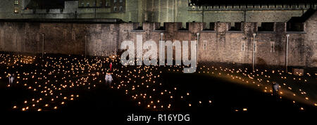 Beyond the Deepening Shadow, The 10000 lights and sound display, Tower of London, London City, England, UK Remembering the people who died in World Wa - Stock Photo