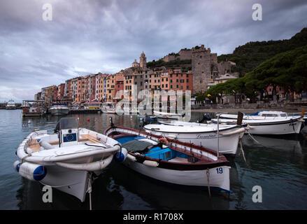 Moody Sunrise in Porto Venere, a fishing village on the Ligurian Coast of Italy, Europe - Stock Photo