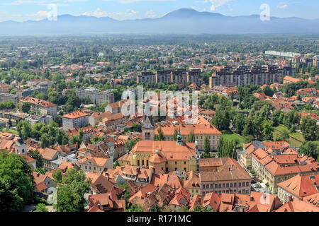 Panorama of Ljubljana, Capital City of Slovenia, Europe - Stock Photo