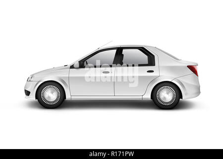 Blank white car design mockup, isolated, side view, clipping path, 3d illustration. Clear auto body mock up profile. Plain vechicle branding template. - Stock Photo