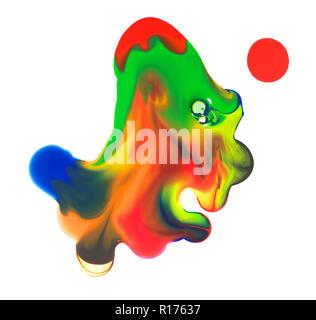 Translucent puddle of multicoloured paint on white background - Stock Photo