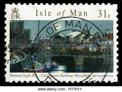 Postage stamps from the Isle of Man in the Watercolour Paintings by Norman Sayle series issued in 2007 - Stock Photo