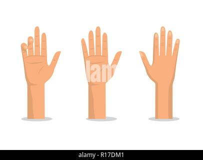 set hands up with palms and fingers - Stock Photo