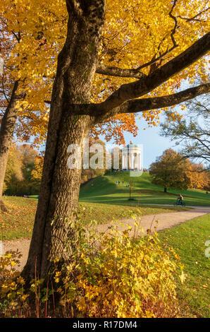 Englischer Garten Park in autumn, Munich, Germany - Stock Photo